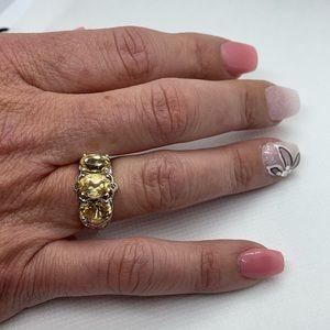 Brazilian Citrine Ring in Platinum Bond Brass